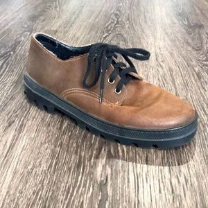 Cougar unisex brown leather lace up shoes 7.5